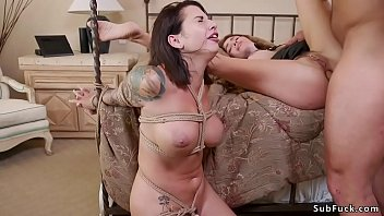 Big cock artist Ramon Nomar whips tied up big tits brunette Ivy LeBelle then bangs her blindfolded step sister Krissy Lynn before anal fucks both in threesome bondage