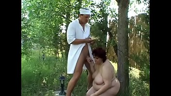 Big lady loves to be fucked by strong guy outdoor