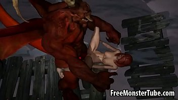 3D redhead babe gets fucked by a winged demon