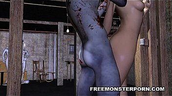 3D babe getting pounded by a zombie