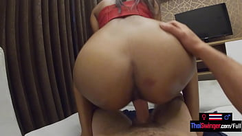 Young Thai girlfriend jerks and sucks her guys big dick before riding on top