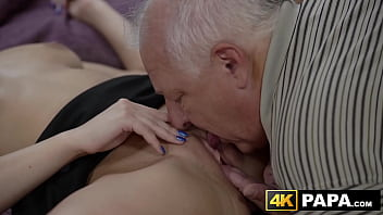 Redhead beauty hammered by older man
