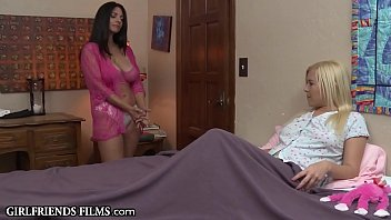 Bokep Mature MILF Enters Teen Lesbians Room in Lingerie