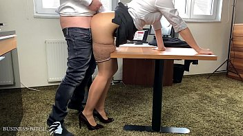 business woman in stockings & highheels and with red lipstick wants to get pregnant by her boss