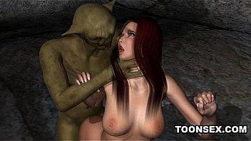 Foxy 3D cartoon redhead gets fucked by a goblin