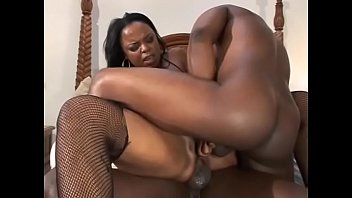 Black chick Suckable in latex boots loves sex threesome and hard double penetration