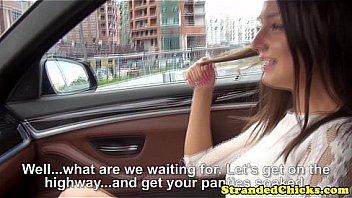 Hitchhiking Miranda Kerr look alike being throatfucked