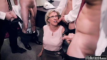 Busty milf teacher faces four students during detention with sex on their minds.They put the big tits cougar on her knees and make her deepthroat