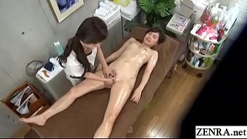 Bokep Japanese lesbian massage for stark naked and oiled up college student with English subtitles