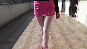 Laura on Heels model step sister has to walk on platform pink heels, pantyhose and a microskirt