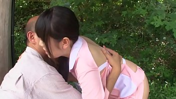 XXX Porn Subtitled bizarre Japanese half naked caregiver outdoors