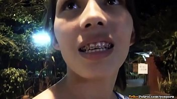 Cute young asian with braces fucked and creampied by tourist