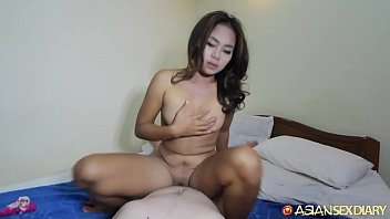 Big white cock works out young Asian MILFs pussy