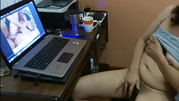 My aunt, my mom's sister, masturbates watching porn movies in front of me and she asks me to take my dick out and jerk me off, she wants me to make her cum on her hairy pussy