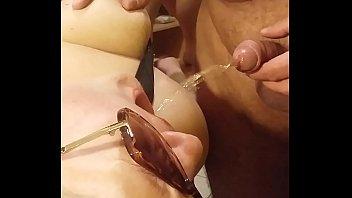 Blonde wife blowjob, cum and piss