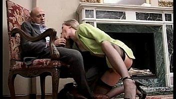 Woman in skirt sucks and fucks mans cock