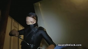 Sexy ninja busted and fucked for trespassing