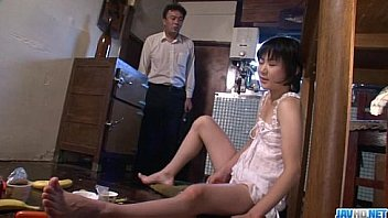 Hot momAoba Itou kneels to suck on a younger cock