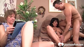 Bokep Horny dude gets to fuck a younger babe as his granny watches and joins sometimes.