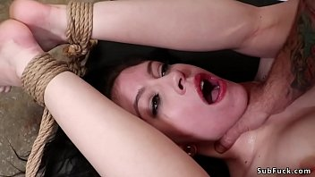 Hot girlfriend Anna De Ville gets rope bondage from bf and five workers and anal gangbang and double penetration interracial fucked till cumshots