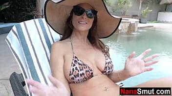 Grandson puts sunscreen on step granny's big boobs