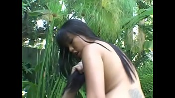 Petite asian slut Avena Lee gets her pussy fucked after blowjob outdoor