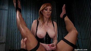 Huge tits redhead MILF femdom Lauren Phillips in black lingerie pegging tied black man slave Dillon Diaz then fucks his big black cock