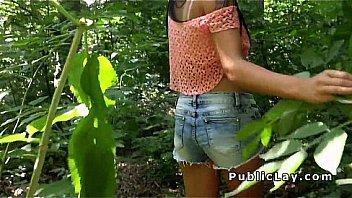 Hottie show boobs and fuck outdoor pov