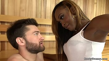 Bokep Big black cock ebony tranny seduces protester Abel Archer in sauna and grabs his dick then ties up him and anal fucks in various positions