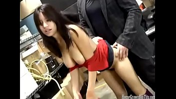 Asian amateur with big boobs fucks at work