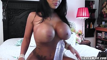 Sienna West cums all over big dildo oiled up tits milf