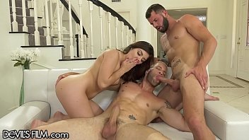 2 Hot Guys and 1 Hot Chick Have Bi-Sex 3Some