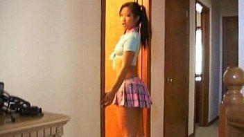 Naughty asian schoolgirl cock sucking lessons
