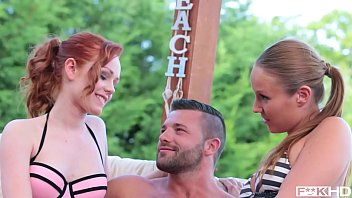 Hardcore threesome makes babe Angel Blade and hottie Ella Hughes cum hard by the pool