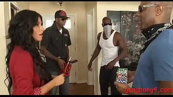 Attractive brunette woman Danica Dillon pussy and anal rammed by big black cocks