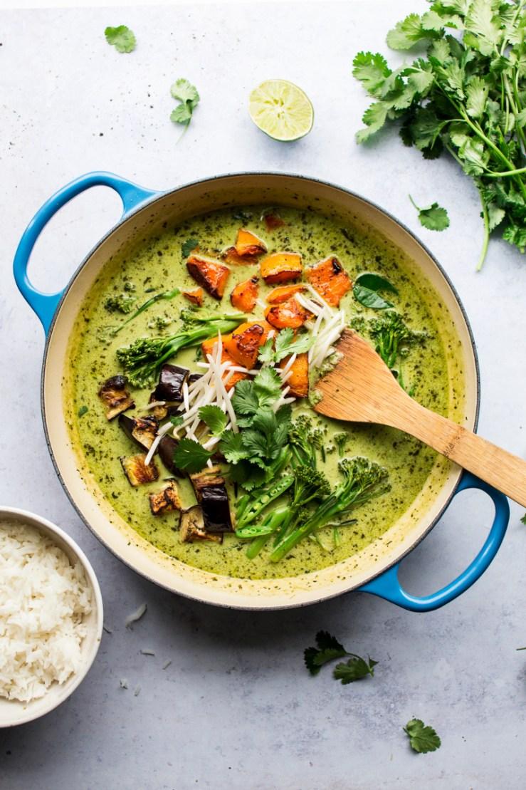 vegan thai green curry pot