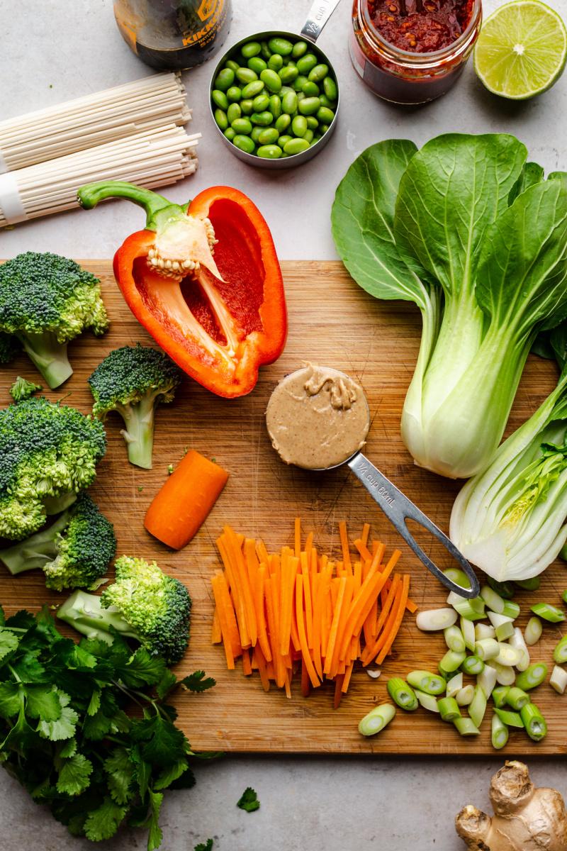 vegan satay noodles ingredients board