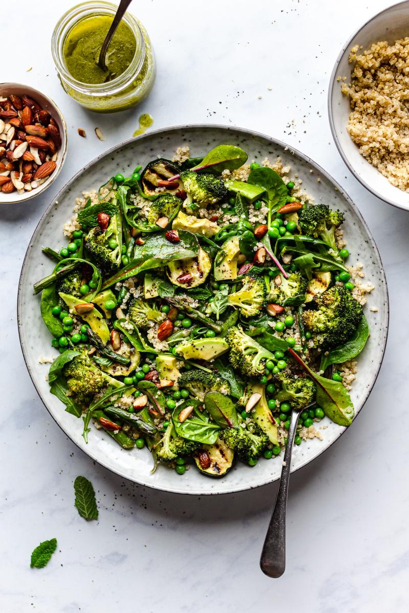 green vegan salad plated