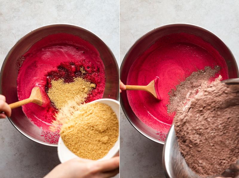 vegan beetroot cake making