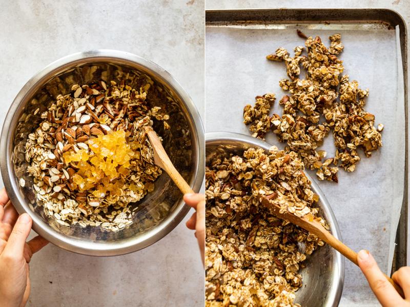 healthy granola spreading