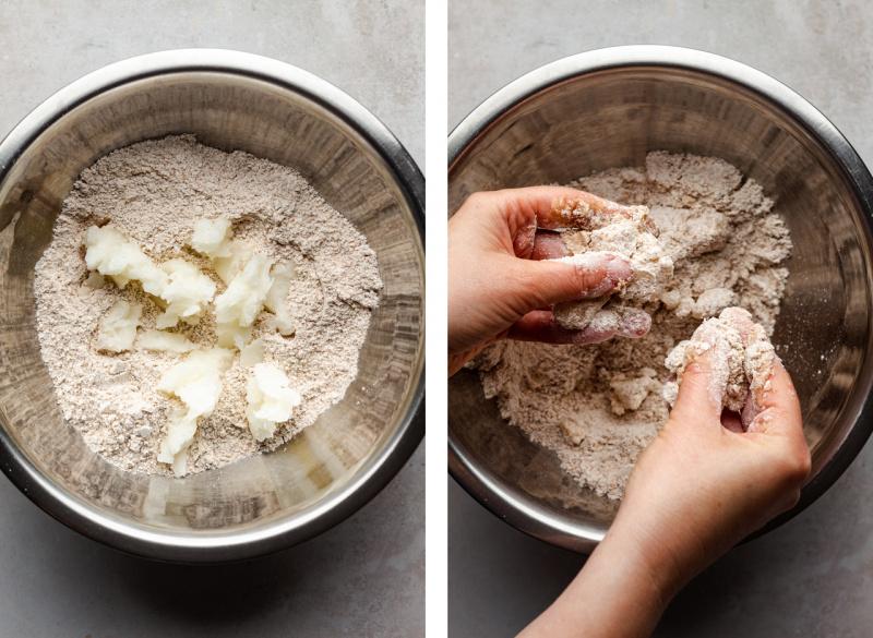 vegan strawberry galette making dough