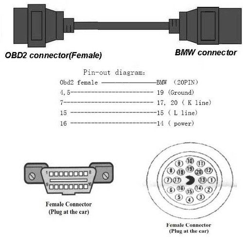 20 Pin to 16 Pin OBD2 Diagnostics Connector Adapter for BMW