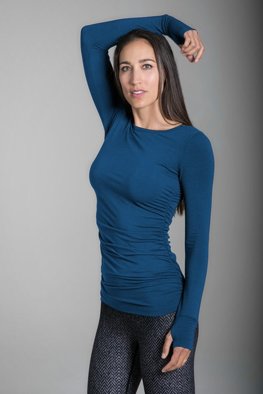 b001de701bf ... Clothing Side Ruched Long Sleeve Top Yoga Tops Kiragrace Side Ruched  Scoop Neck Maternity Tank ...
