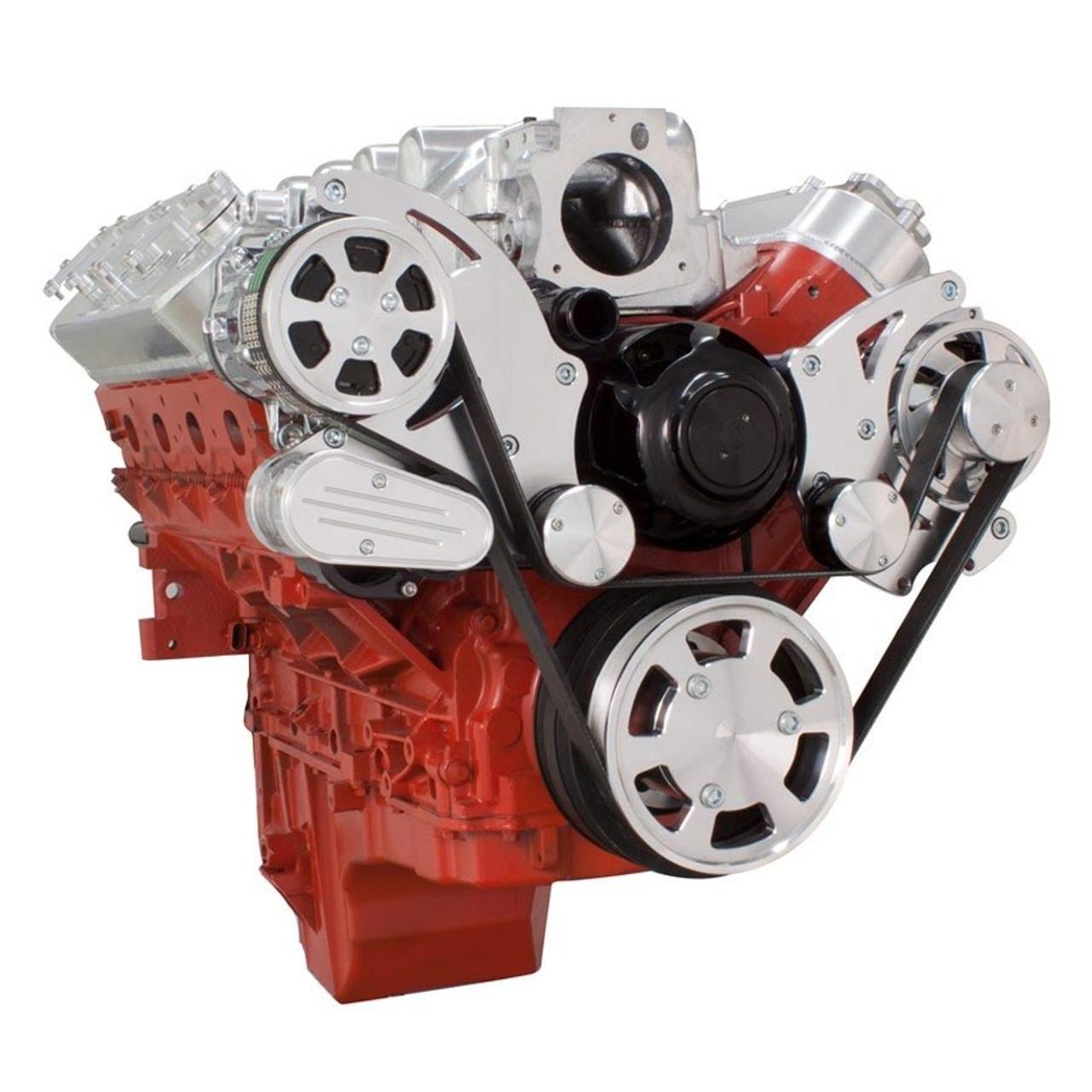 chevy ls serpentine kit ac alternator with electric water pump [ 900 x 900 Pixel ]