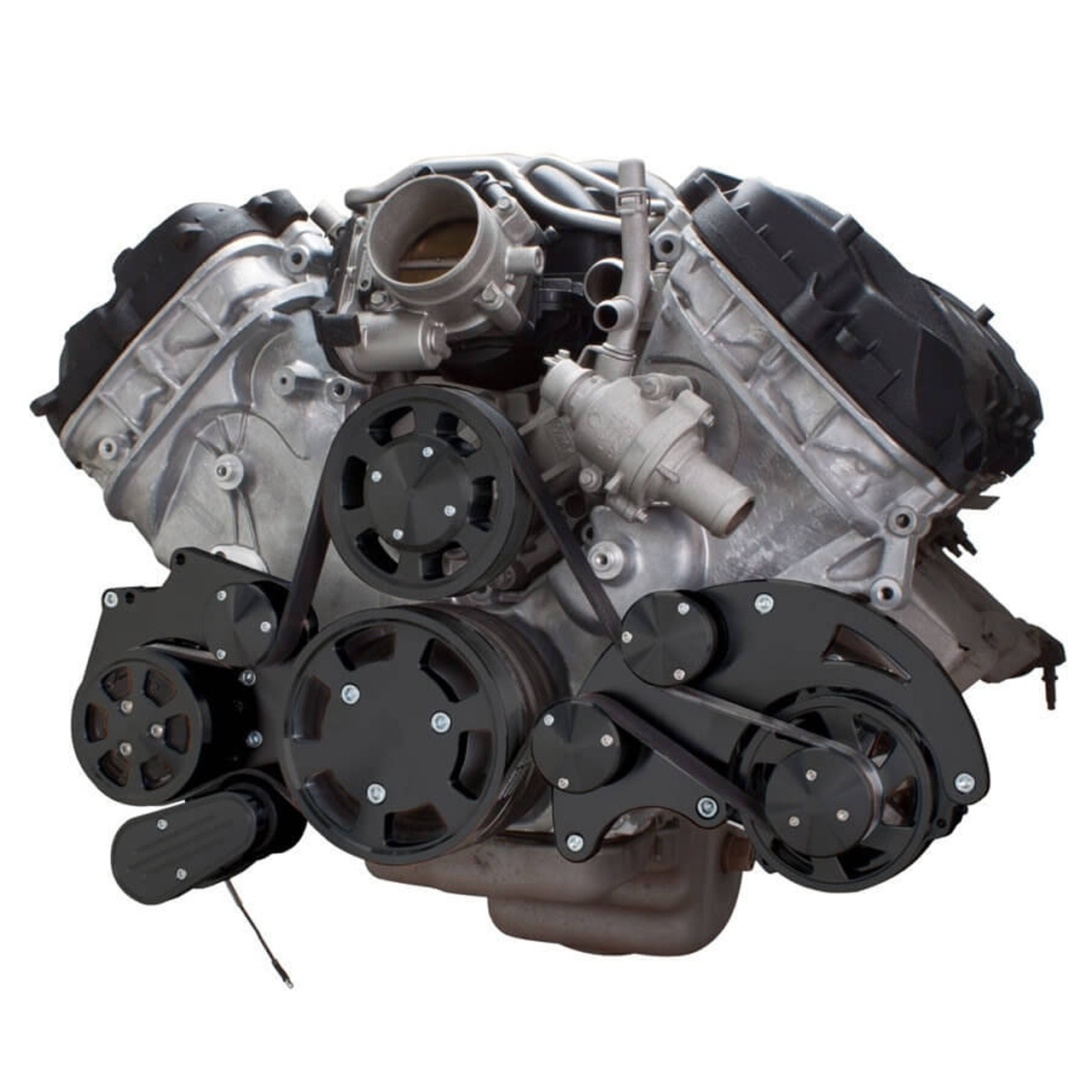 stealth black serpentine system for ford coyote 5 0 ac alternator  [ 900 x 900 Pixel ]