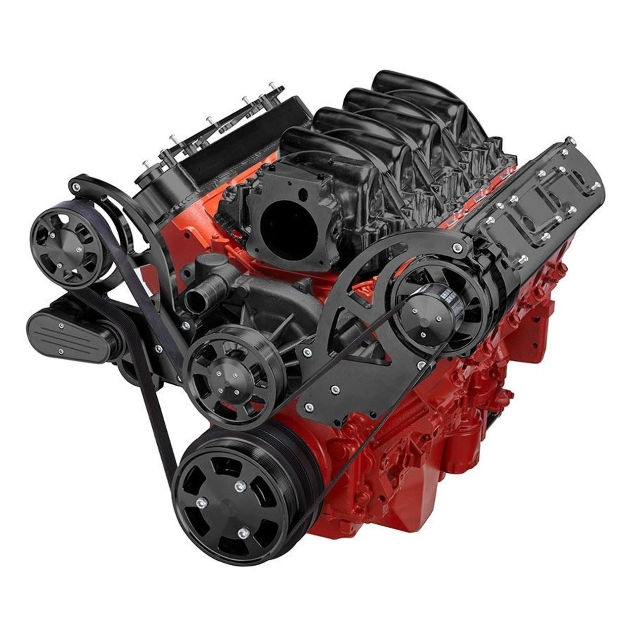 medium resolution of black chevy ls engine serpentine conversion kit alternator only 3 wire alternator wiring ls7 alternator wiring