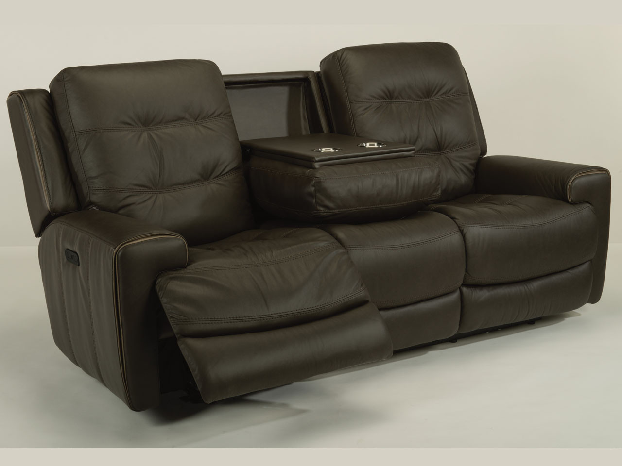double reclining sofa with fold down table best buy leather power motion reviews baci living room
