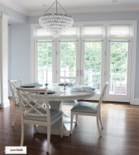Dining Room French Doors Roman Shades in Linen with Samuel ...
