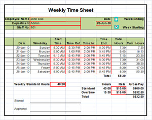 Professional Services Billing Excel Timesheet Template