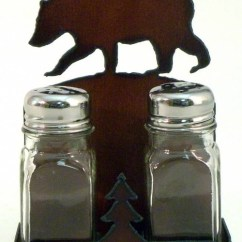 Kitchen Clocks Wine Theme Marsh Cabinets Rustic Black Bear Salt And Pepper Shakers With Holder
